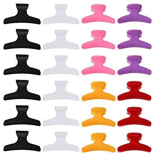 24 pièces pinces à cheveux papillon pinces à cheveux antidérapantes Chic style griffe pour femmes section de cheveux pinces à griffes outil de coiffure clips de coupe