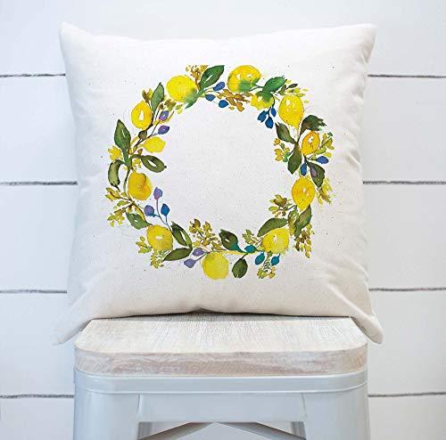 VinMea Watercolor Lemon Wreath Pillow Cover Spring Summer Lemon Home Decor Canvas Cushion Rustic Textured Pillow Covers Gift, 18'x18'