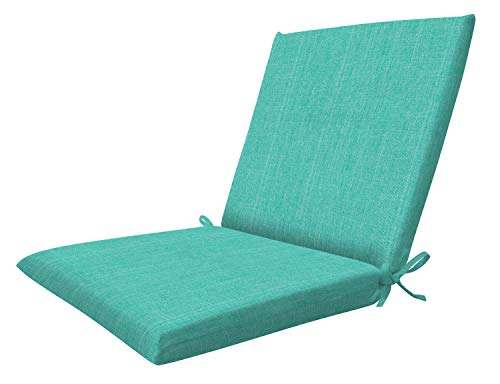 """Honeycomb Indoor/Outdoor Textured Solid Surf Aqua Midback Dining Chair Cushion: Recycled Polyester Fill, Weather Resistant Patio Cushions: 19"""" W x 37"""" L x 2.5"""" T"""