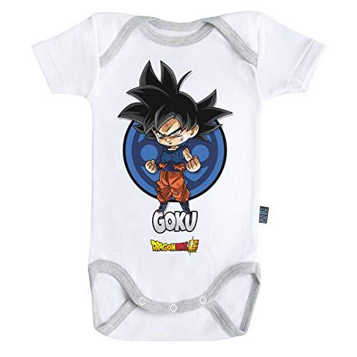 Baby Geek Goku - Body para bebé de manga corta con licencia oficial gris 6-12 Meses