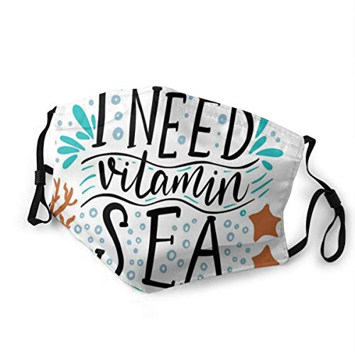 Mouth Scarf,I Need Vitamin Sea Inspirational Quote Hand Drawn With Coral Waves Starfishes Bubbles Washable Mouth Muffles For Running Cycling Outdoor,20x15cm