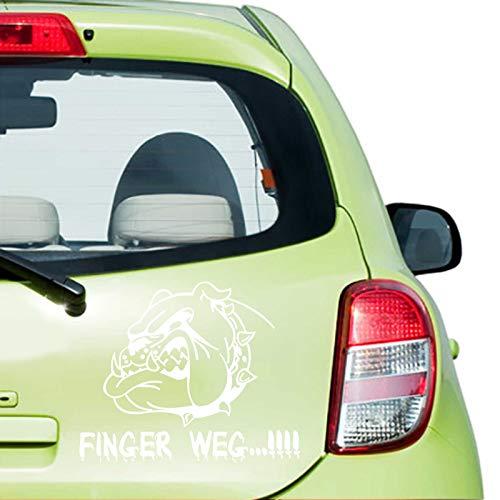 JINTORA Sticker - Autocollant - Adhésif pour Voiture Finger Away! 60cm x 73cm Blanc - réglage Lunette arrière Voiture - Style de Voiture