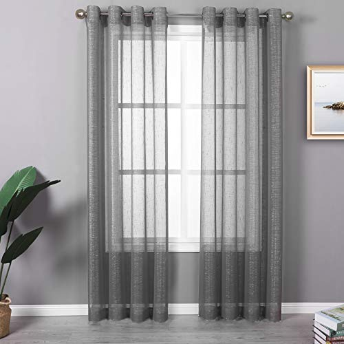 """Ruthy's Textile Metallic Sheer Grommet Curtain Panel Pair 54"""" x 84"""" Each Curtains for Living Room, Bedroom Panels, Family Room (Grey)"""