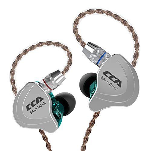CCA C10 High-Performance in-Ear Monitor,HiFi 1DD 4BA Hybrid Five Drivers in-Ear Earphone,Zinc Alloy Shell+Resin Cavity Wired Earbuds with 0.75mm 2 Pin Gold Plated Detachable Cable(Cyan Without mic)