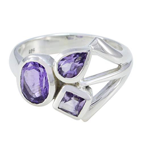 joyas plata piedras preciosas reales multi forma tres anillos de amatista facetada de piedra - anillo de amatista púrpura de plata de ley 925 - nacimiento de febrero acuario