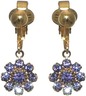 ROSINA Gold Plated Tanzanite Crystal Flower Clip On Earrings