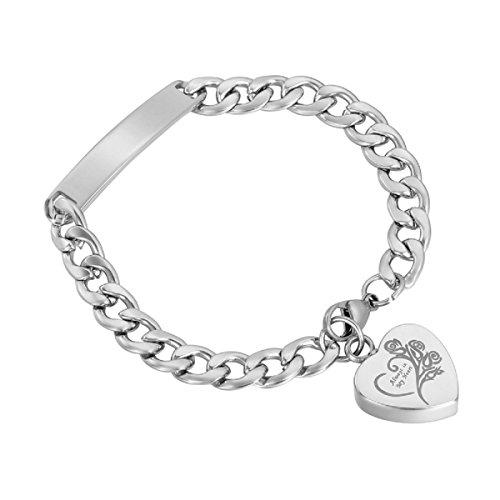 K-Y Gegraveerd Altijd in mijn hart Memorial Urn Armband RVS Crematie Urn Armband Sieraden met Buig Plaat