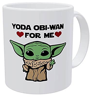 Willcallyou Baby Yoda Obi Wan For Me Heart Green Face, Valentines Day Gifts for Husband, Boyfriend, Wife, Girlfriend Funny 11 Ounces White Coffee Mug to My Valentine Dating Gifts