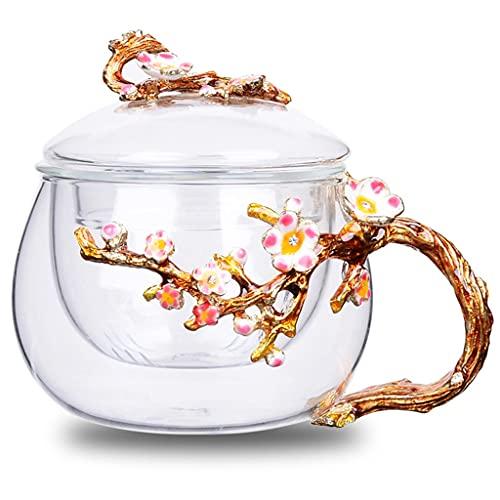 Taza Té Cristal 3D Taza Café Taza Cristal Transparente con Asa Flores Taza Té Flores con Tapa Regalo para Navidad Mamá Esposa Amigos Mujeres Cumpleaños Boda (Color : Pink)