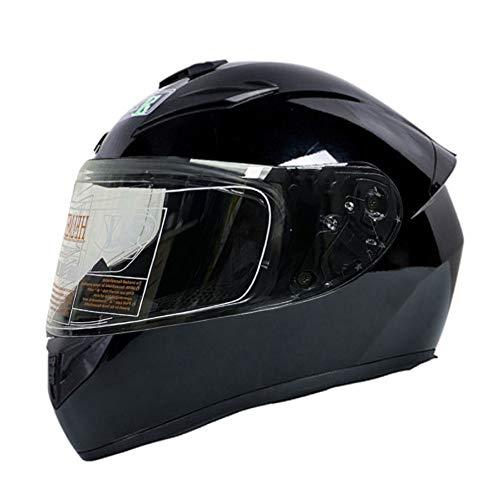 RTGE Casco Integral de Motocicleta para Adultos con 3 Opciones de Lentes Certificado Dot Cascos de protección para Motocicletas para Hombres y Mujeres Viajes Diarios (Negro Puro),B,58~59cm L