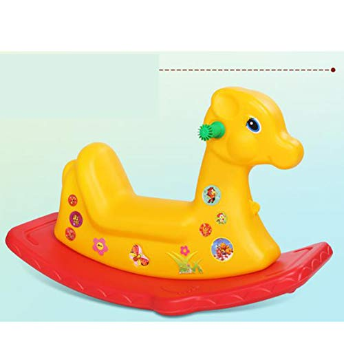 Cute Plastic Animals Rocking Horse Musical Rocking Pony Ride on Cars Rollers Educational Toys Gift for Children Baby Infant Kids,Yellow