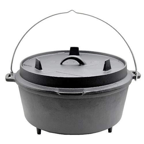SANTOS Gusseisen Dutch Oven - mit Füßen - 11 Liter, 8-10 Personen, ca. 12 QT'' - Feuertopf Schmortopf Camp Oven für Gasgrill Kohlegrill und offenes Feuer