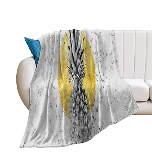 Donghouse Blanket Pineapple Gold Flannel Blanket Comfort Velvet Touch Ultra Plush, Novelty Soft Throw Blankets fit Couch Sofa Bedspread Coverlet Bed Cover 60' X 80'