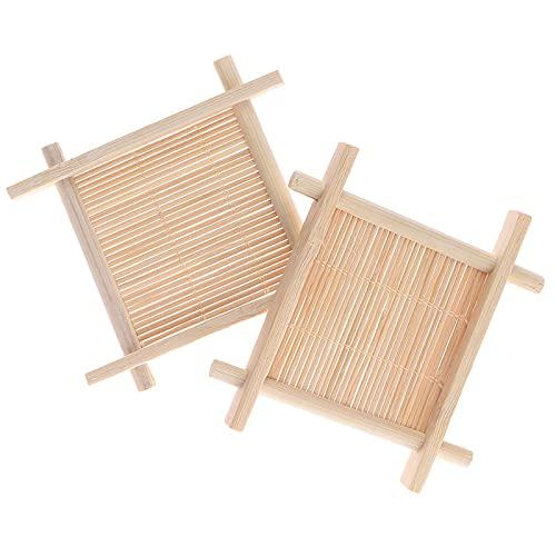 AXUHENGO Jabonera de bambú Natural de Madera, Soporte para Bandeja, Estante para Almacenamiento de jabón, Caja para Placa, contenedor para baño, Plato de Ducha, baño