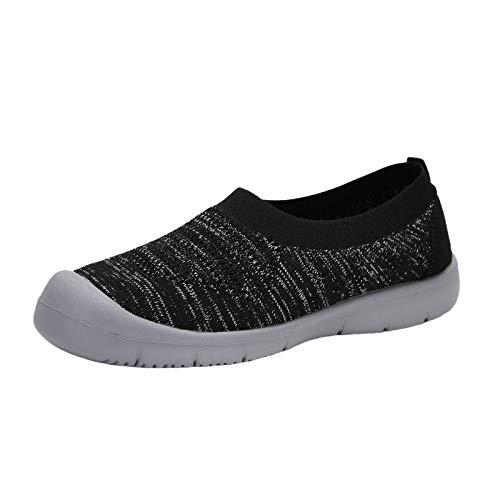 Beudylihy Zapatos de malla con cordones para mujer, ligeros, modernos y transpirables, con suela suave., color Negro, talla 39 EU