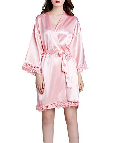 Westkun Damen Morgenmantel Bademantel Satin Sexy V-Ausschnitt Kimono Kurz Robe mit Gürtel Nachthemd für Braut Nachtwäsche Mit Blumenspitze(Licht Rosa,o)