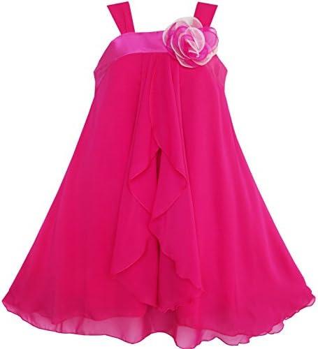 Sunny Fashion M/ädchen Kleid /Ärmellos Halfter Blume Mehrfachschicht Chiffon Gr 98-158