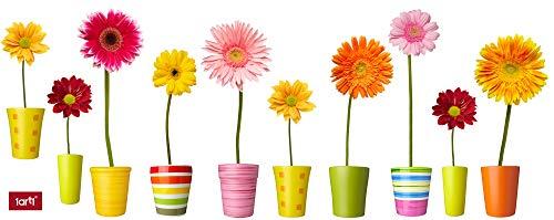 1art1 Blumen - Bunte Blumen In Farbenfrohen Töpfen Wand-Tattoo | Deko Wandaufkleber für Wohnzimmer Kinderzimmer Küche Bad Flur | Wandsticker für Tür Wand Möbel/Schrank 125 x 45 cm