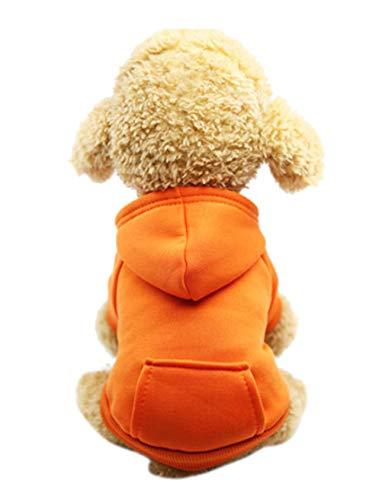 newrong Hundmantel mit Tasche Für Hunde Herbst-Winter Ausflugskleidung Bequem Hundekleidung Einfarbig Orange L