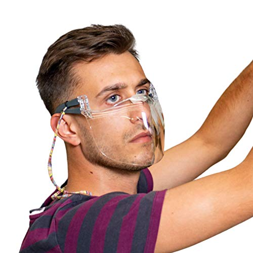 CE konforme Wieder-Verwendbare MNS Plastik-Maske - Diese transparente Klarsicht-Maske ermöglicht als Community-Maske freies Atmen, Anti-Beschlag & Anti-Kratz versiegelt – Bitte Größe beachten