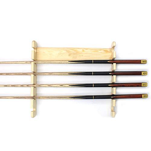XLOO Pool Queue Rack - Pool Stick Holder Wandhalterung mit 6 Kugelhaltern - Kompaktes Billardtisch Zubehör für Bar/Wohnzimmer, (Braun, Gelb)