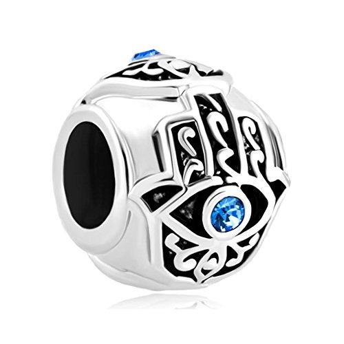 Third Time Charm Blue Evil Eye Charm On Islamic Hamsa Hand of Fatima Beads for Charm Bracelet