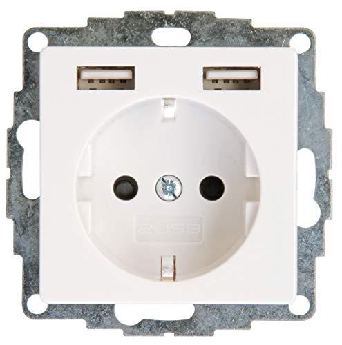 Kopp UP-Schutzkontakt 2 USB-Anschlüssen, 296229183, Steckdose + 2xUSB, rein-weiß