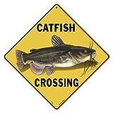 """CROSSWALKS Catfish Crossing 12"""" X 12"""" Aluminum Sign (X455)"""