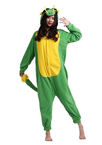 Männer Damen Pyjama Kostüm Overall Plüschoverall Tier Verkleidung für Erwachsene Drachen