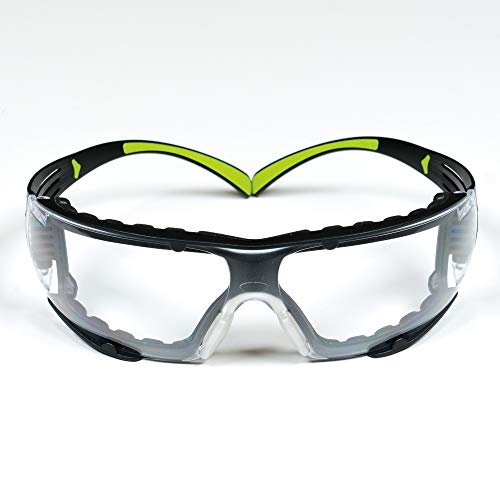 3M Safety Glasses, SecureFit, ANSI Z87, Dust Protection, Anti-Fog Anti-Scratch Clear Lens, Green/Black Frame, Flexible Temples, Removable Foam Gasket