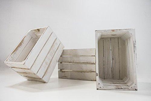 DECORANDO CON SAM Set 3 Unidades Cajas de Madera Blancas Vintage, 30x20x20cm, Incluye Imán Personalizable de Regalo.