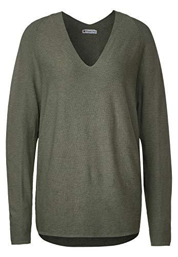 Street One Damen Pullover mit Rippstruktur Shady Olive Melange 40