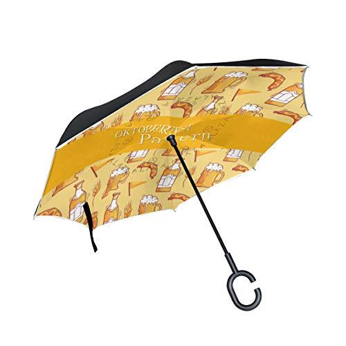 LINDATOP Oktoberfest, traditioneller Regenschirm, umgekehrter Regenschirm, automatisches Öffnen, doppellagig, winddicht, UV-Schutz, umgedrehter Regenschirm für Auto, Regen, Außenbereich