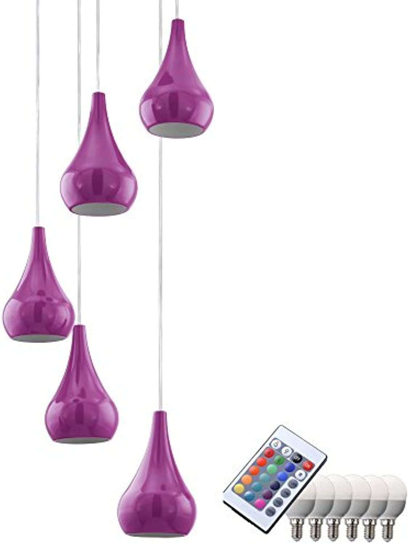 Hnge Leuchte Esszimmer Küchen Pendel Lampe Fernbedienung im Set inklusive RGB LED Leuchtmittel