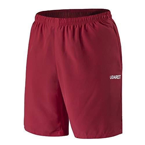 Shorts De Sport Homme Short de Course Fitness Entraînement Léger avec Poches Zippées Rouge Vif L