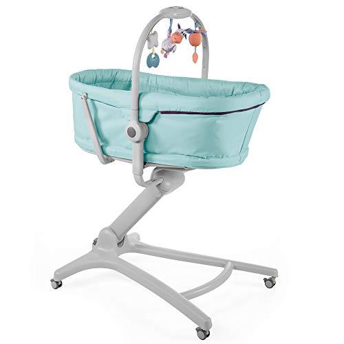 Chicco Baby Hug 4 w 1 Łóżeczko Dziecięce od Urodzenia do 3 Lat (15 kg), Wysokie Krzesełko dla Dziecka, Pałąk z Zabawkami, Regulowane Oparcie i Wysokość, Rozkładane Łóżeczko Dziecięce i Krzesło