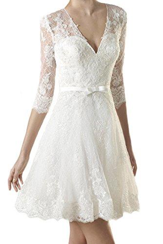 Milano Bride Einfach Elfenbein Spitze Langarm Hochzeitskleider Brautkleider Brautmode Kurz A-linie Rock Mini -40-Elfenbein