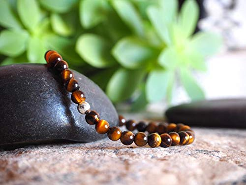 GFJ Natural Yellow Tiger Eye 4mm Round Smooth Beads Stretchable Bracelet for Men & Women. 7 inch Natural Gemstone Beads Bracelet Wrist mala for Healing, Protection, Meditation, Chakra, Balance, Gift.