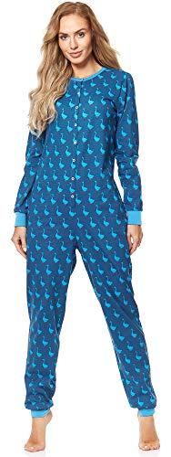 Merry Style Damen Schlafanzug Strampelanzug Schlafoverall MS10-187 (Blau Gans, L)