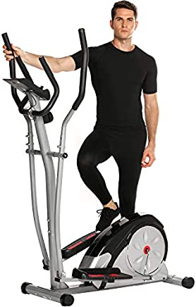 ANCHEER Elliptical Machine Trainer Magnetic Smooth Quiet Driven with LCD Monitor and Pulse Rate Grips