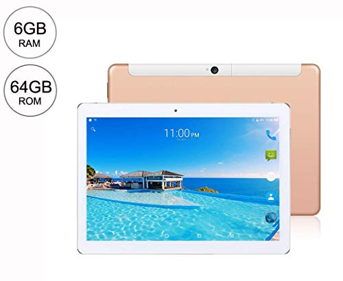 10 Inch Android 8.0 Tablet PC, 6GB RAM 64GB Storage Phablet Tablet Deca-Core Unlocked 4G Cell Phone Tablets, Dual Sim Card Slots, WiFi, GPS, Bluetooth 4.0,1920x1200 HD IPS Screen Displa (Gold)