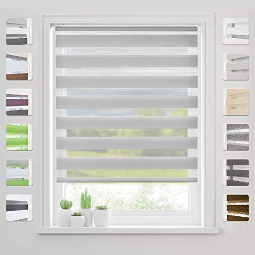bobodeco Doppelrollo Klemmfix Ohne Bohren (Grau,80x130cm) Duo Rollo Transparentes und undurchsichtiges mit klemmträger Sonnenschutzrollo Fensterrollo für Fenster & Türen