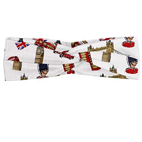 ABAKUHAUS London Bandana foulard, Big Ben Tower Bridge Royal Guard téléphone double Decker et drapeau du Royaume-Uni, élastique et confortable accessoire de tous les jours, Violet/bleu/sable marron