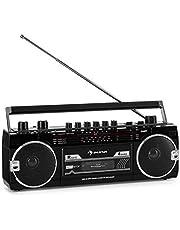 Auna Duke MKII Radiocasete - Bluetooth , Codificación Directa del Cassette al USB/SD , 4 Bandas de Radio: FM, MW, SW1, SW2 , Antena telescópica , USB , Ranura SD , Enchufe y Hueco para Pilas , Negro