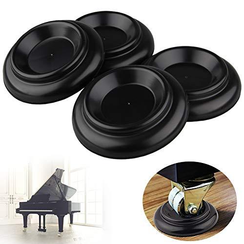 4Pcs Klavieruntersetzer Set aus Hartholz mit Schaumstoff-Stoßdämpfer Klavier Caster Cups Solid Caster f. Klavier ABS-Möbelfußschutz Schwarz