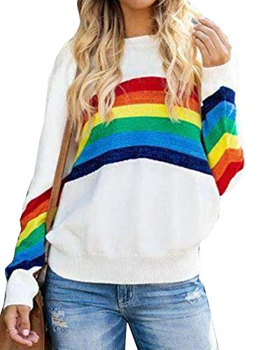 Ferrtye Womens Oversized Rainbow Pullover Sweaters Cute Lightweight Long Sleeve Crew Neck Loose Knit Sweater