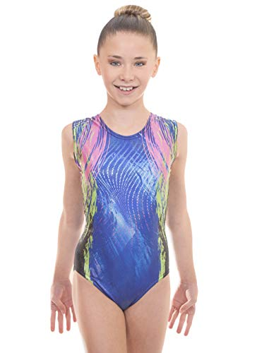 Velocity Dancewear Deluxe Kinetic Short Sleeve Tank Training Gymnastics Leotards for Girls (Kinectic Blue (Sleeveless), 11-12 Years)