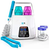 TBI Pro 5-in-1 Fast Baby Bottle Warmer for Milk, Breastmilk - Portable Bottle Sterilizer with Timer - Two Bottles BPA-Free for Babies Infant Food- Safe Auto-Off Function - Rapid Defrosting Heating