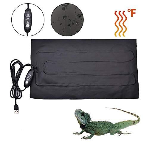 Tappetino riscaldante per rettili USB, con Controllo della Temperatura dell'interruttore di temporizzazione, Materiale Impermeabile in PU, Tappetino riscaldato con Cuscino Caldo per Animali Domestici