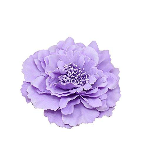 Kewl Fashion Women's Bohemia Peony Flowers Hairpin Hair Clip Flower Brooch (Lavender #1)